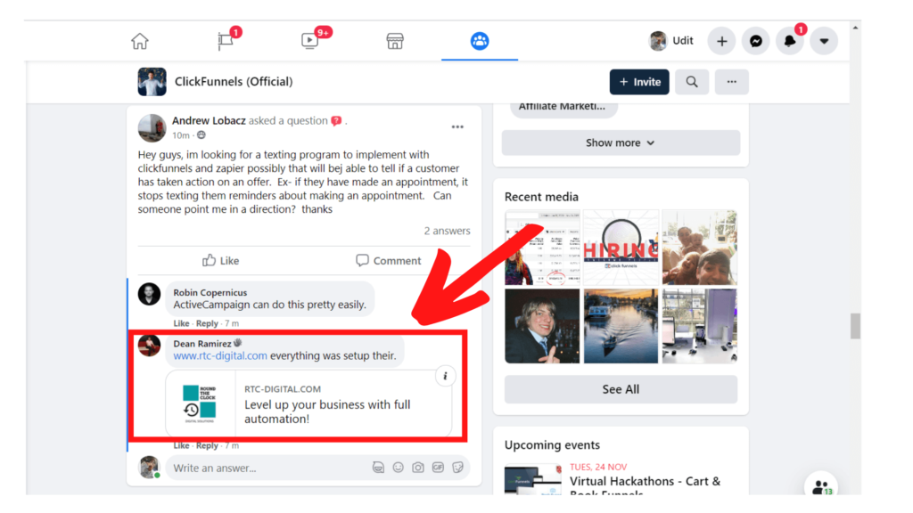 Facebook traffic using Anchor text links