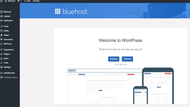 Installation of WordPress - Welcome By Bluehost